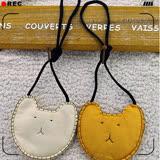 PINKPONY-囧臉棉質側背小包 零錢包-黃色
