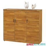 【品味居】凱司 時尚4尺柚木紋三門鞋櫃/玄關櫃