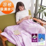 J-bedtime【楓葉裊裊-紫】3M專利透氣吸濕排汗防螨抗菌四季涼被-5X6尺