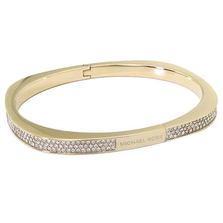 MICHAEL KORS 奢華水鑽裝飾釦式手環-金色 -friDay購物 x GoHappy