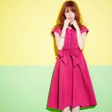 日本ANNA LUNA 預購-ViVi雜誌 V領繫帶襯衫式連身圓裙(粉紅色/M)