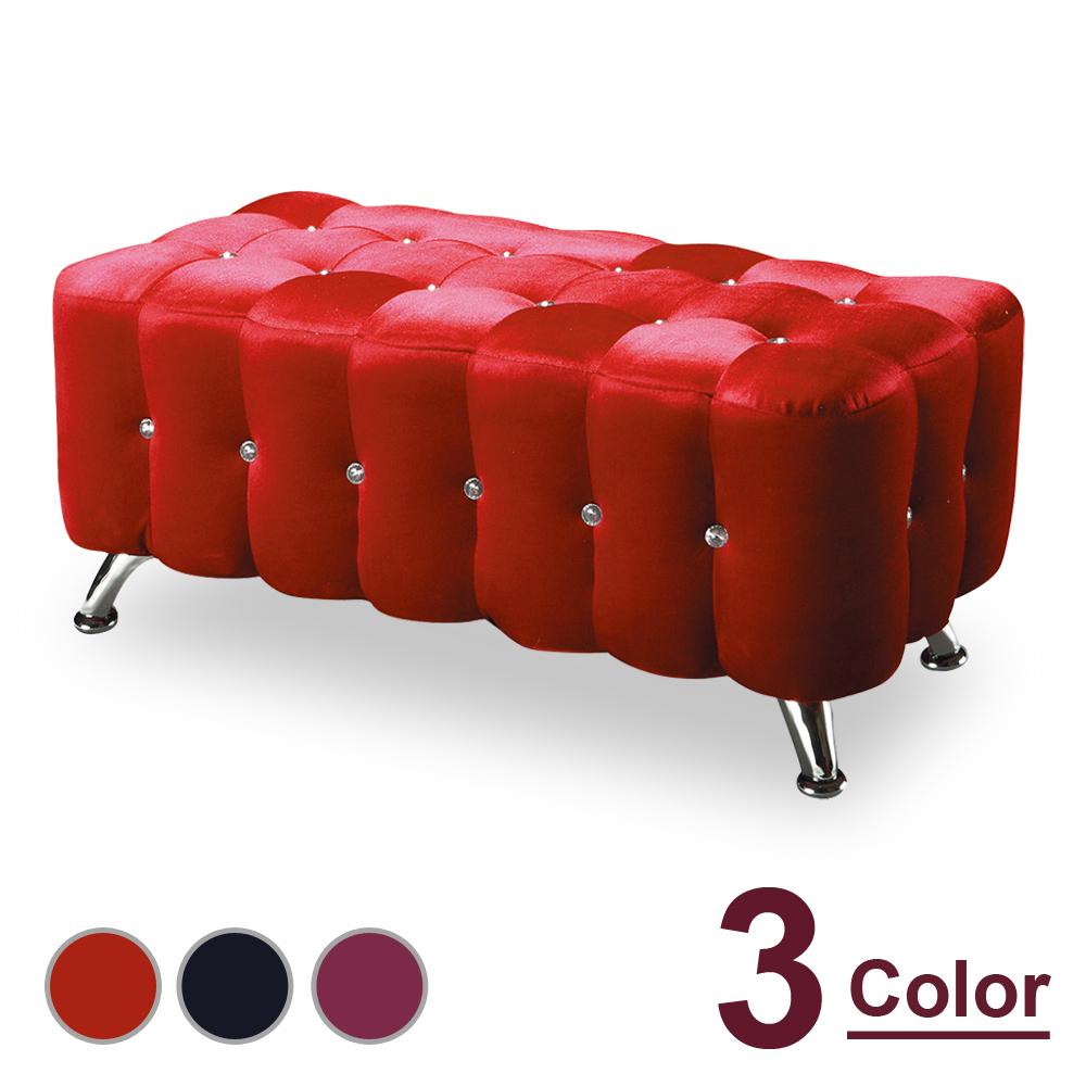 HAPPYHOME 水鑽3尺絨布長椅NM7-295-1三色可選-免運費