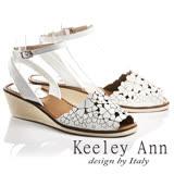Keeley Ann氣質甜美~小清新四葉草全真皮魚口楔形涼鞋(白色732008640)