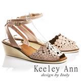Keeley Ann氣質甜美~小清新四葉草全真皮魚口楔形涼鞋(粉紅色732008656)