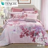 AGAPE亞加•貝《獨家私花-粉彩櫻花》3M高級天絲標準雙人5尺四件式兩用被套床包組