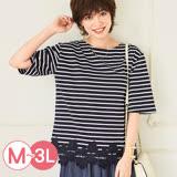 日本Portcros 預購-下擺蕾絲條紋圓領T恤(共三色/M-3L)