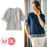 日本Portcros 預購-薄紗拼接素面圓領T恤(共三色/M-3L)