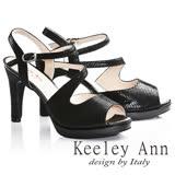 Keeley Ann焦點女伶~雅緻S形流線設計全真皮高跟魚口涼鞋(黑色732113210)