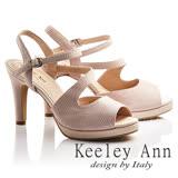 Keeley Ann焦點女伶~雅緻S形流線設計全真皮高跟魚口涼鞋(粉紅色732113256)