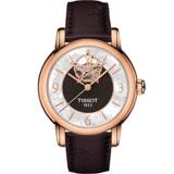 天梭 TISSOT Lady Heart 玫瑰藝術鏤空機械腕錶 T0502073711704 咖啡x玫瑰金色