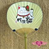 【天使霓裳】扇子 祝願貓兒 單面印花和風扇角色扮演道具配件(黃F)