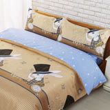【BARNITE】紳士品格棉感絨四件式兩用被床包組-雙人