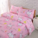 【BARNITE】嘟嘴兔包棉感絨四件式兩用被床包組-雙人