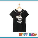 【Betty Boop貝蒂】挖肩閃電狗頭棉質長版T恤(共二色)