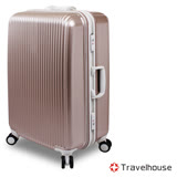 【Travelhouse】超越經典 20吋PC鋁框硬殼行李箱(細砂金)