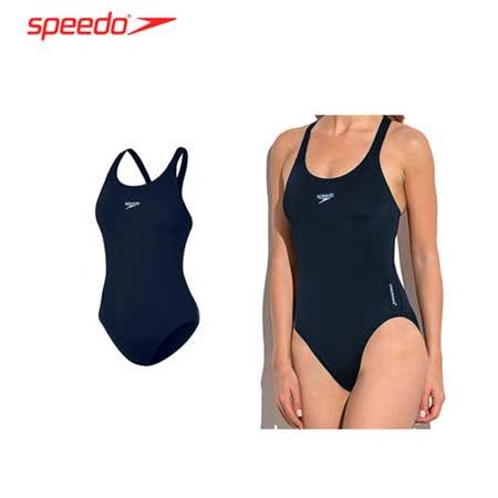 (女) SPEEDO ENDURANCE+ MEDALIST運動連身泳裝-泳衣 游泳 丈青白 -friDay購物 x GoHappy