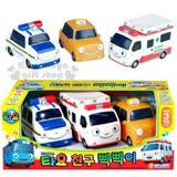 〔小禮堂〕韓國小巴士TAYO 救援組小汽車玩具組《S.白棕.3入.警車.救護車.計程車》