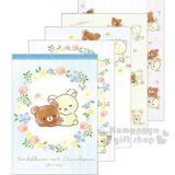 〔小禮堂〕拉拉熊 茶小熊 日製便條紙《A6.藍條紋.牛奶熊.花圈》花園嬉戲系列