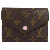 Louis Vuitton LV M62360 Victorine 經典花紋扣式錢短夾.粉 現貨