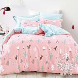 AGAPE亞加•貝【仙人掌】100%精梳純棉 標準雙人(5x6.2尺)四件式涼被床包組/加高35CM