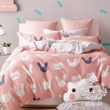 AGAPE亞加•貝【俏皮甜心】100%精梳純棉 標準雙人(5x6.2尺)四件式涼被床包組/加高35CM