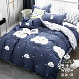 AGAPE亞加•貝【俏皮雲朵】100%精梳純棉 標準雙人(5x6.2尺)四件式涼被床包組/加高35CM