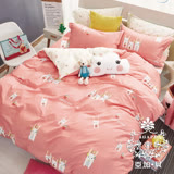 AGAPE亞加•貝【頑皮小兔】100%精梳純棉 標準雙人(5x6.2尺)四件式涼被床包組/加高35CM
