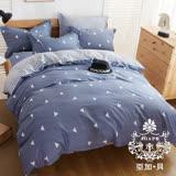 AGAPE亞加•貝【簡單風格】100%精梳純棉 標準雙人(5x6.2尺)四件式涼被床包組/加高35CM
