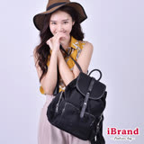 iBrand-韓系時尚翻蓋真皮口袋尼龍後背包-黑