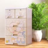 小熊木馬四層DIY玩具衣物收納櫃-附鎖抽屜