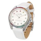 COACH 七彩水晶奢華白皮帶女用腕錶/32mm/14502505