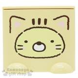 〔小禮堂〕角落生物 小貓 桌上單抽積木收納盒《粉橘.貓裝.黃臉》可多個推疊