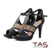TAS 透膚感幾何網布鏤空羊皮高跟涼鞋-性感黑