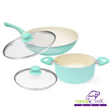 【Mama Cook】湖水綠陶瓷不沾鍋具5件組-炒+湯(30 cm+20cm)