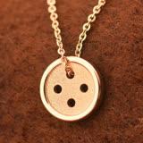 玫瑰金純銀項鍊吊墜-創意鈕釦情人節禮物時尚飾品4色71x68【米蘭精品】