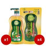 南僑水晶肥皂食器洗滌液体1000mlx1瓶+800mlx4包 送水晶肥皂(200g/4入)x1組
