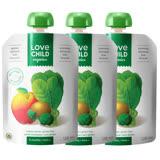 【 Love Child 加拿大寶貝泥 】有機鮮萃生機蔬果泥 均衡寶系列-菠菜、綠花椰菜、奇異果、蘋果 3入組