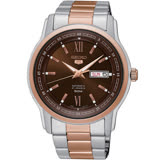 SEIKO 精工 五號盾牌 羅馬數字玫瑰金機械時尚腕錶/42mm/7S26-04T0KS(SNKP18J1)