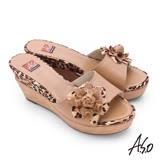 A.S.O 輕量真皮立體花漾拼接豹紋高跟涼拖鞋(卡其)