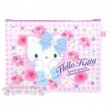 〔小禮堂〕Hello Kitty A4三層文件資料袋《L.格紋.花朵.捧臉》網狀透明拉鍊袋