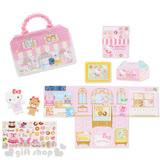 〔小禮堂〕Hello Kitty 紙娃娃貼紙組合《粉.小熊.甜甜圈》附提袋