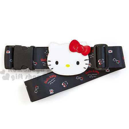 〔小禮堂〕Hello Kitty 旅行箱束帶《黑.大臉.杯子滿版》2017涼夏旅行系列 -friDay購物 x GoHappy