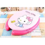 〔小禮堂〕Hello Kitty 軟式裝飾馬桶蓋《粉.側坐撐頭.點點》素描系列