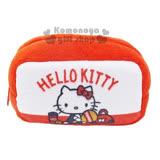 〔小禮堂〕Hello Kitty 絨毛零錢包《紅白.網球拍.球袋.網球.長方型》