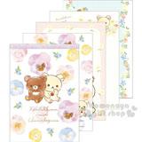 〔小禮堂〕拉拉熊茶小熊 日製便條紙《A6.白紫.牛奶熊.三色堇.水彩筆觸》花園嬉戲系列