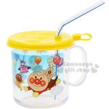 〔小禮堂嬰幼館〕麵包超人 塑膠小水杯《黃.透明.朋友.氣球.250ml》附蓋.吸管