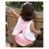美國 RuffleButts 小女童甜美荷葉邊搖擺衣/洋裝 粉白後背大蝴蝶結 (BRSW08)