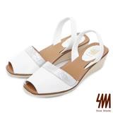 SM-台灣全真皮-方頭魚口雙色楔型中跟涼鞋-白色