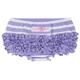 美國 RuffleButts 小女童荷葉屁屁褲/包屁褲 淡紫條紋 Knit  (RBRBK12)