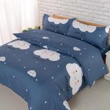 【BARNITE】星空城市棉感絨四件式兩用被床包組-雙人